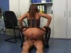 Busty german babe in boots and lingerie office sex