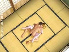 Pigtailed 3D hentai babe gives oral sex