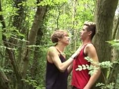 Two boys in the woods