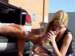 Teen daughter lick her mature Mother feet