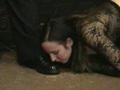 Slave girl lick master shoe