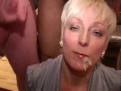 Blonde Cougar gets Multiple Facials from Multiple Men