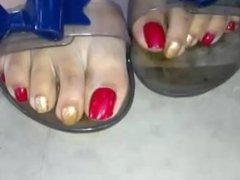 sexy ebony red toes POV curling