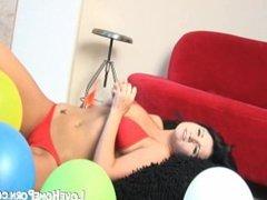 Teen girl and ballons