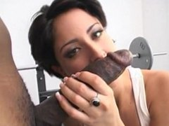 Brunette in Gym takes a Big Black Cock