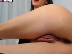 Black haired chick assplay vs pussyplay with a giant dildo