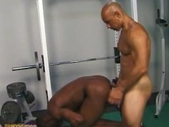 Black Top Daddy with String fucks other black man at the gym