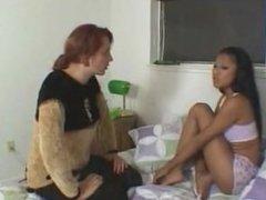 Cute ebony got spanking for smoking