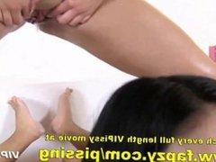 Big tits teen pissing