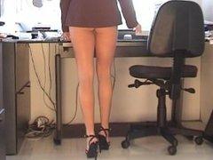 Karen White mini-dress upskirt