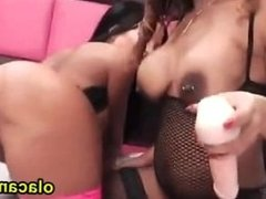 Threesome lesbians orgy busty babe on webcam