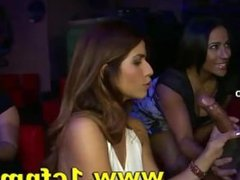 Insane cfnm bachelorette party girls wanking and sucking strippers
