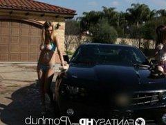 HD FantasyHD - Holly Michaels and Natalia Starr fuck at car wash