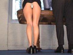 Karen White, panties upskirt