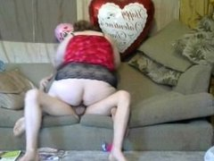 Hot Mlf ride a huge cock on the couch