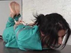 Barefoot hogtie gagged with socks