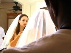 Bride in interracial throat meat