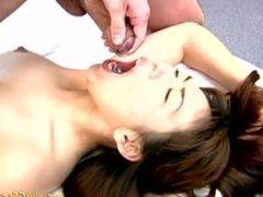 Hardcore Japanese getting mouthful of jizz