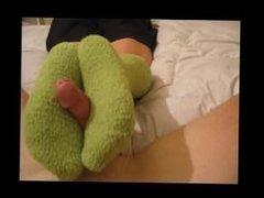Green Fuzzy Knee Sock Footjob
