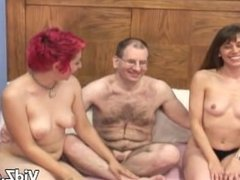 Two Slutty Housewives Share a cock