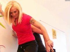 Extremely brutal trampling with roller skates