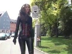 Princess Fatale walking in latex an boots