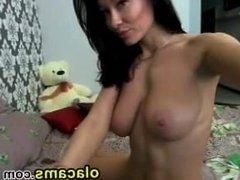 Big-tits brunette teen naked on webcams