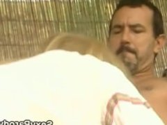 Blondie gets bareback fucked by hunky Gillygan at his Island