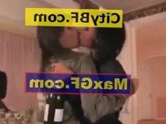 Hot Lesbian Beautiful Girls Kissing In Satin Blouse