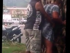 Black old parents fuck outside