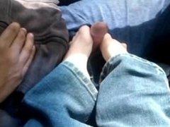 Sock and Bare Feet Footjob