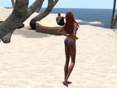 Fred Adjani et Venicie à la plage Belle île en Mer