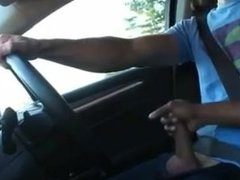 best friend gives his buddy a handjob whlie he drives