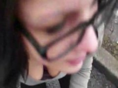 amateur brunette suck & swallow in street