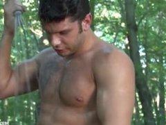 Wanking in the Wood - Hot hairy Guy Solo