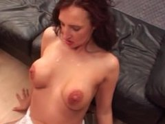 Big boobed slut rides many big cocks