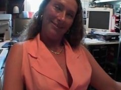 Slutty brunette gets seduced in her office