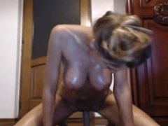 hot girl with oil sucks her toy and rides it hard