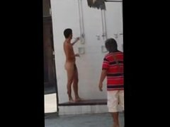 Caught Nude Shower on The Streets.