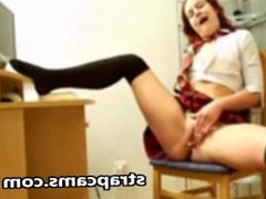 Beautiful redhead teen masturbation on chair in front of webcam