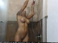 carnality big milk blonde use dildo masturbation in the shower