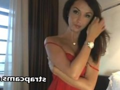 Gorgeous busty brunette show us her incredible body on webcam