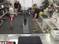 Fitness guy strips of his clothes in pawn shop