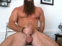 Beared Muscle Daddy Jerks Off
