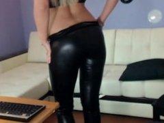 Blonde Russian Camgirl Teasing in Black Shiny Leggings #3