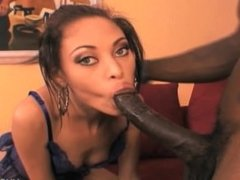 Wesley Pipes going deep in skinny ebony pussy with that big black cock!