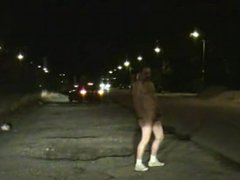Naked at night in the street