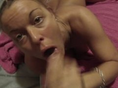 Sucking my roomate's BF's cock and swallowing his load to pay the rent