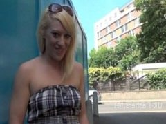 Blonde babe Axa Jays public flashing and outdoor exhibitionism of naughty