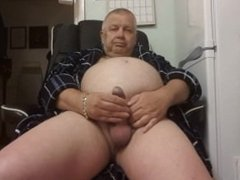 Daddy wanking in his chair. 1st time in full view. Please dont laugh.